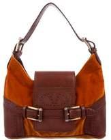 Valentino Leather-Trimmed Velvet Bag