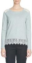 CeCe Lace Trim Crewneck Sweater