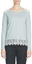 CeCe Women's Lace Trim Crewneck Sweater