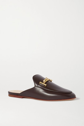 Tod's Cuoio Embellished Leather Slippers - Dark brown