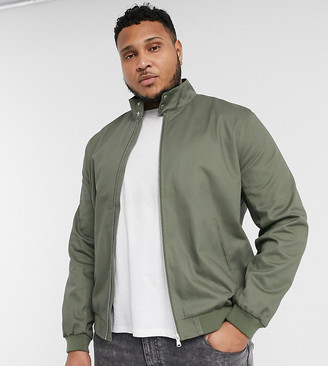 ASOS DESIGN Plus harrington jacket with funnel neck in khaki