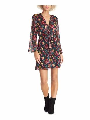 Rachel Roy Womens Black Sheer Tie Floral Long Sleeve V Neck Mini Sheath Party Dress Size: L