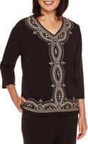 Alfred Dunner Madison Park 3/4-Sleeve Center Embroidery Top