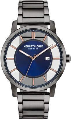 Kenneth Cole New York Men Transparent Gun Metal Bracelet Watch 44mm