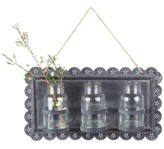 Creative Co-Op Tin Wall Decor with 3 Glass Vases
