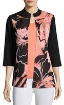 Misook 3/4-Sleeve Textured Abstract-Print Long Jacket, Plus Size