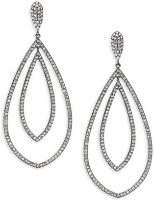 Adriana Orsini Rhodium Plated Pave Crystal Teardrop Earrings