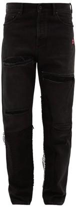 Off-White X Ev Bravado Distressed Straight-leg Jeans - Mens - Black