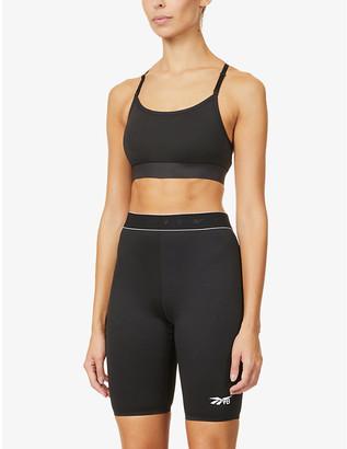 Reebok x Victoria Beckham Logo-print skinny high-rise stretch-recycled polyester cycling shorts