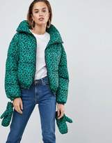 Asos Puffer Jacket with Mittens in Leopard Print