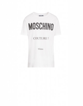 Moschino Cotton T-shirt With Couture Print Man White Size 44 It - (34 Us)