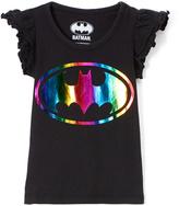 Children's Apparel Network Black Neon Batman Symbol Angel-Sleeve Tee