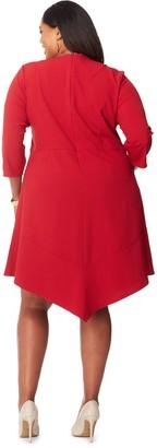 Just My Size Women's Plus 3/4-Sleeve V-Hem Dress