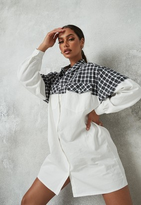 Missguided White Check Splice Pocket Shirt Dress