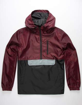 Distortion Colorblock Burgundy Mens Anorak Jacket