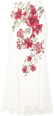 Marchesa floral-embroidered A-line skirt