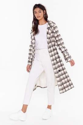 Nasty Gal Womens Rain Down Coated Check Trench Coat - white - 4