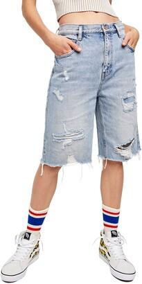 Free People Ripped High Waist Denim Bermuda Shorts