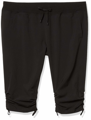 Andrew Marc Women's Plus Size Commuter Active Adjustable Cinched Cropped Pant