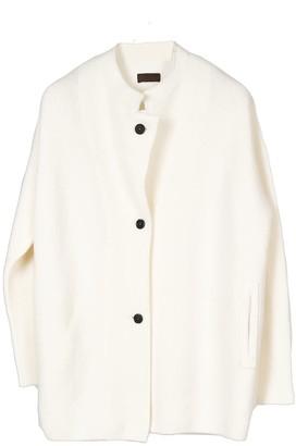 Oyuna Elif Knitted Unisex Jacket In Ivory Fluff