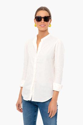 The Shirt By Rochelle Behrens Cream Pink Dots Long Sleeve Puff Shoulder Shirt