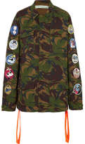Off-White Appliquéd Embroidered Camouflage-print Cotton-canvas Jacket - Army green