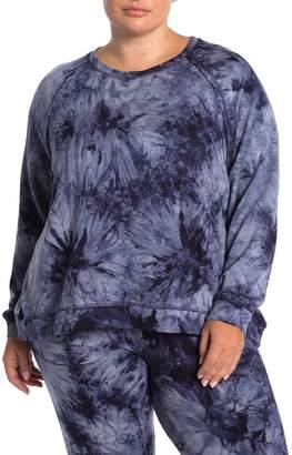 Como Vintage Tie-Dye Fleece Lined Raglan Pullover (Plus Size)
