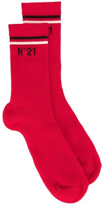 No.21 Logo Print Ankle Socks