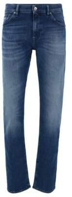 BOSS Regular-fit jeans in dark blue comfort-stretch denim