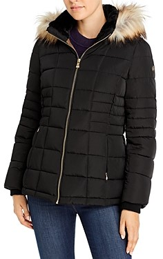 Calvin Klein Faux Fur Trim Hooded Puffer Coat