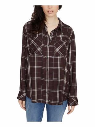 Sanctuary Womens Maroon Tartan Plaid Cuffed Collared Button Up Top UK Size:8