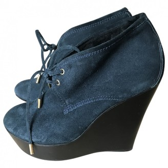 Louis Vuitton Navy Suede Ankle boots