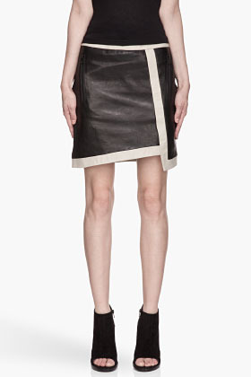 Helmut Lang Black and beige Wrapped Leather Skirt