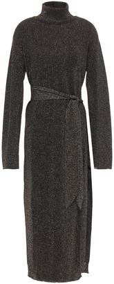 Nanushka Belted Metallic Knitted Turtleneck Midi Dress