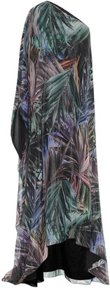 Halpern Printed lame one-shoulder gown