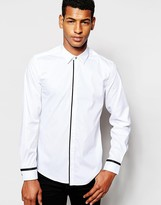 Antony Morato Shirt With Placket Binding In Slim Fit - White