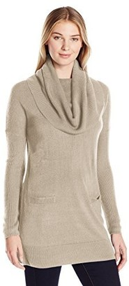 Sag Harbor Women's Marilyn Neck Two-Pocket Pullover Cashmerlon Sweater