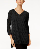 Alfani Petite Burnout-Mesh High-Low Top, Only At Macy's