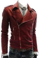 Win8Fongen's Fashion British White/Black/ Lapel Leather Faux Leather Biker Jacket