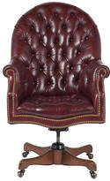 One Kings Lane Vintage Leather Chesterfield Executive Chair - Castle Antiques & Design - oak, cordova, brass