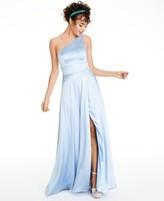 Speechless Juniors' One-Shoulder Satin Gown