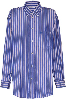 Balenciaga Striped Poplin Over Shirt W/bb Logo