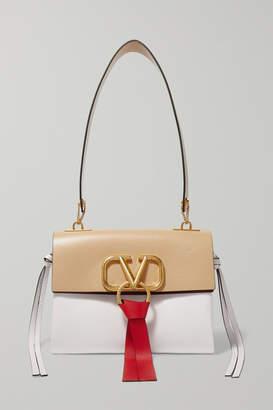 Valentino Garavani Vring Small Color-block Leather Shoulder Bag - Beige