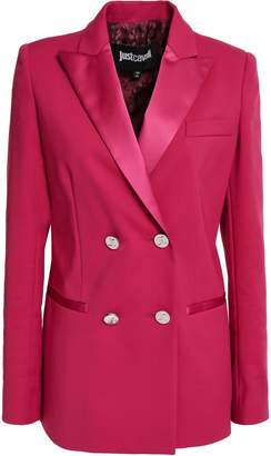 Just Cavalli Double-breasted Satin-trimmed Cotton-blend Cady Blazer