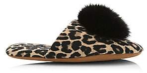Minnie Rose Women's Fox Fur Pom-Pom Leopard Print Cashmere Slippers