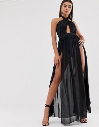 Lasula cross front maxi dress with double thigh split in black