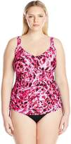 Maxine Of Hollywood Women's Plus Size Wild Side Shirred Underwire Tankini with Adjustable Sides