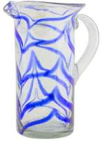Blown glass pitcher, 'Blue Caress'