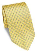 Salvatore Ferragamo Giallo Owl Pattern Silk Tie