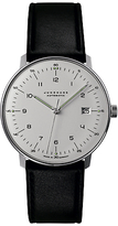Junghans 027/4700.00 Max Bill Automatic Stainless Steel Leather Strap Watch, Black/white